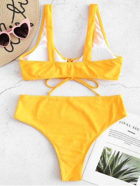 women Front Lace Up High Waisted Bikini - BRIGHT YELLOW S Mobile
