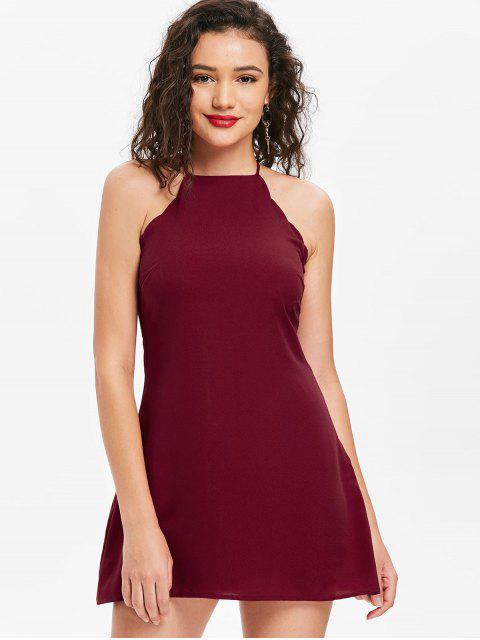fashion Back Zipper Scalloped Mini Dress - CHESTNUT RED L Mobile