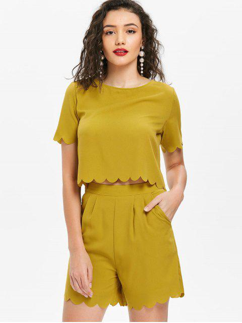 outfit Scalloped Top and Shorts Set - MUSTARD L Mobile