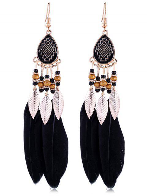 Boucles d'Oreilles Motif Plume et Perle Style Vintage - Noir  Mobile