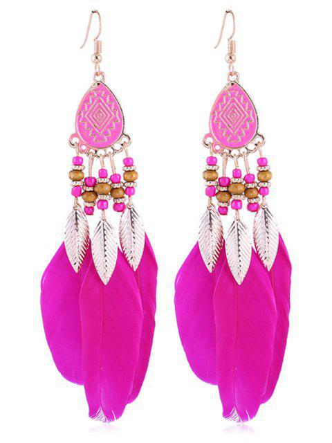 Pendientes bohemios de plumas de abalorios vintage - Rosa Roja  Mobile