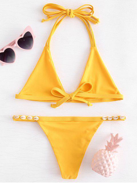 ladies Shelled String Bikini Set - RUBBER DUCKY YELLOW XL Mobile