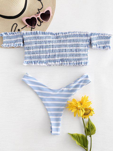 hot Off The Shoulder Striped Smocked Bikini - MULTI L Mobile