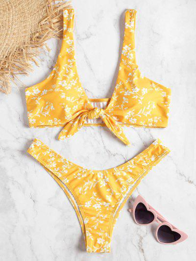 d15aa2ea94fa3 Floral Knotted Low Rise Bikini Set - Bright Yellow S HOT