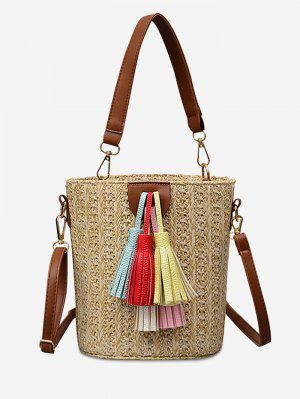 Straw Bucket Shaped Straw Leisure Tassels Tote Bag