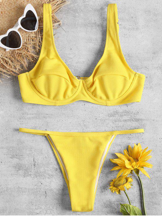 Bügel BH Und Swim Thong - Helles Gelb L