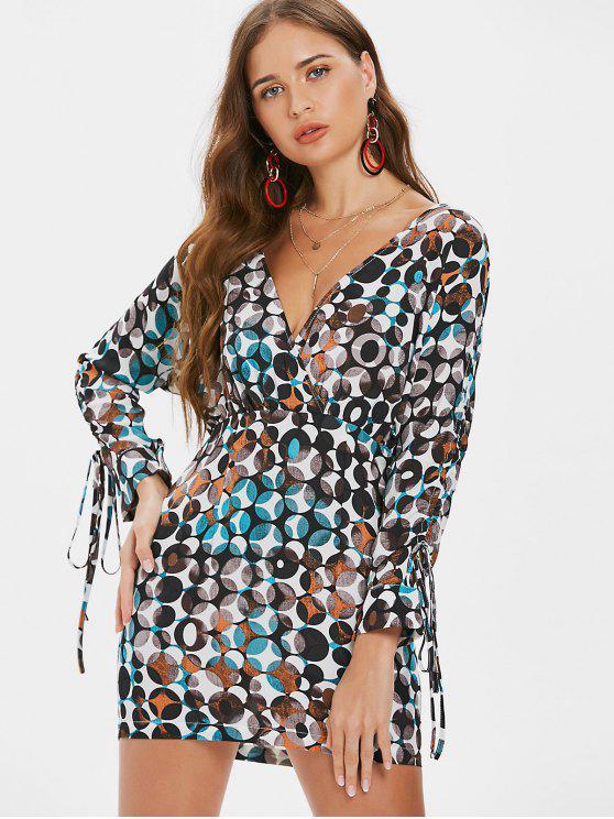 latest Low Cut Printed Mini Dress - MULTI XL
