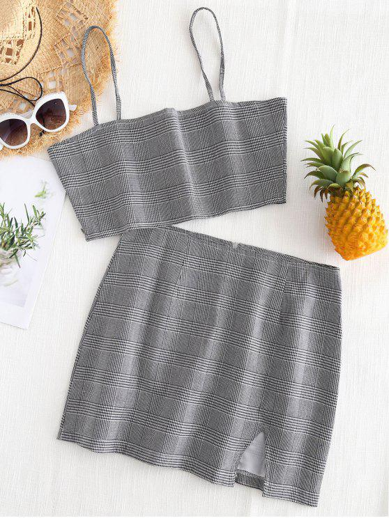 hot Bralette Plaid Top and Slit Mini Skirt Set - CHECKED S