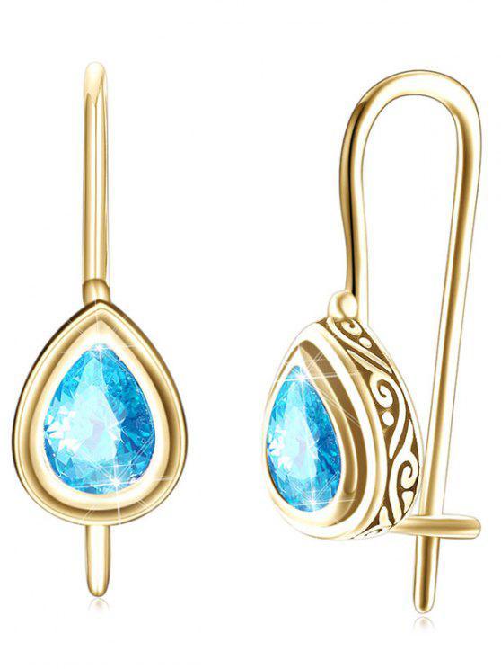 shops Vintage Water Drop Zircon Inlay Drop Earrings - BLUE ZIRCON
