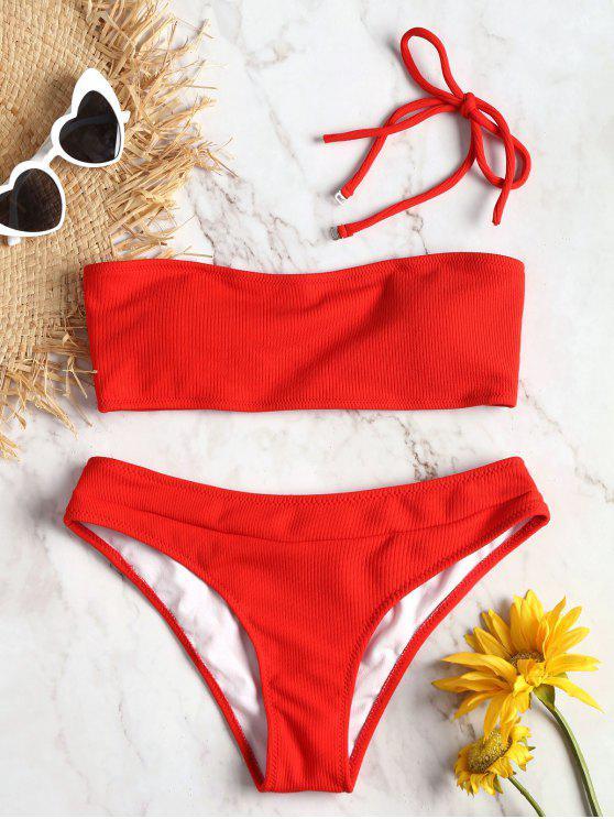 women Halter Ribbed Texture Bikini Set - RED L