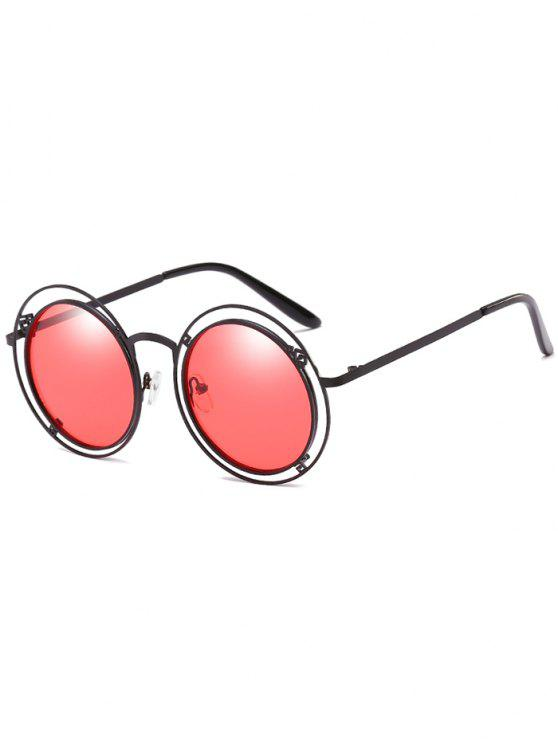 chic Statement Hollow Out Frame Round Sunglasses - FIRE ENGINE RED