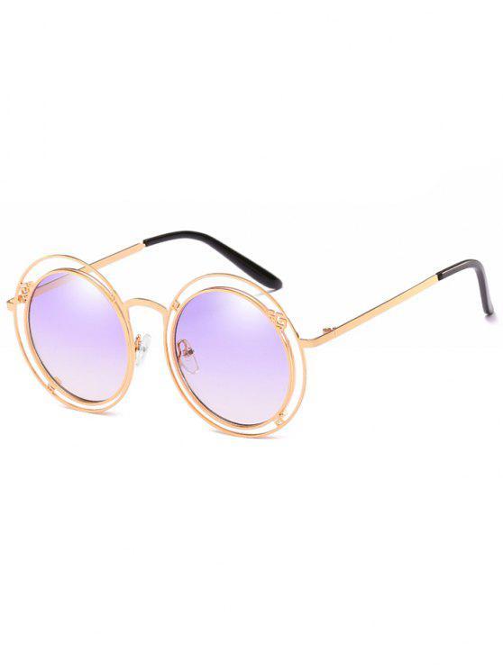 Declaração Oco Out Frame Round Sunglasses - Cor de Malva