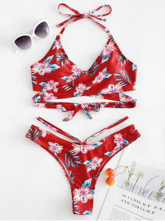 chic Floral Leaf Print Wrap Bikini Set - CHERRY RED S