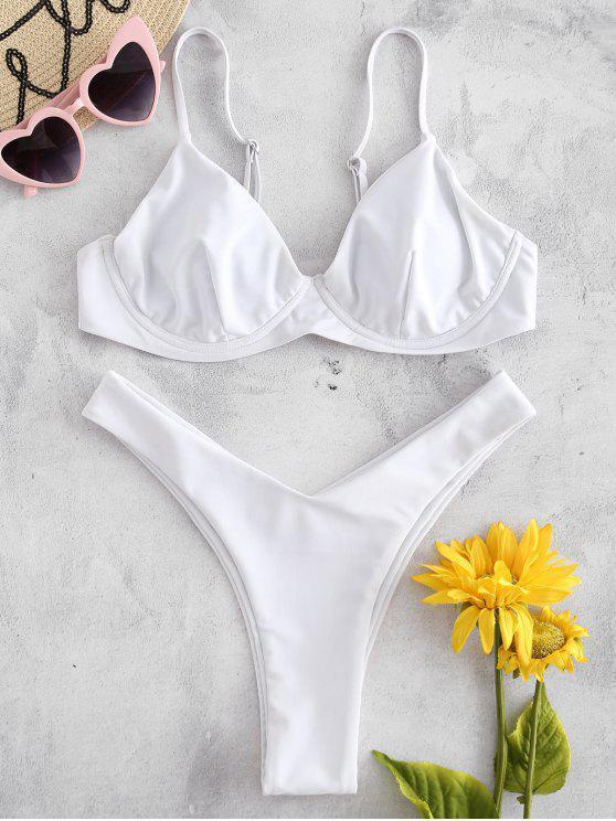 Bügel Hohes Bein Bikini Set - Weiß L