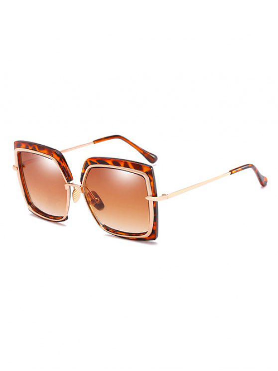 Anti-UV-Metallrahmen Quadrat übergroße Sonnenbrille - Braunes Kamel