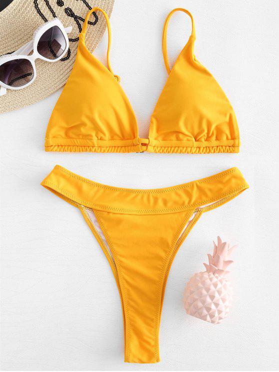 Hoch Geschnittenes Bikini Set - Senf L