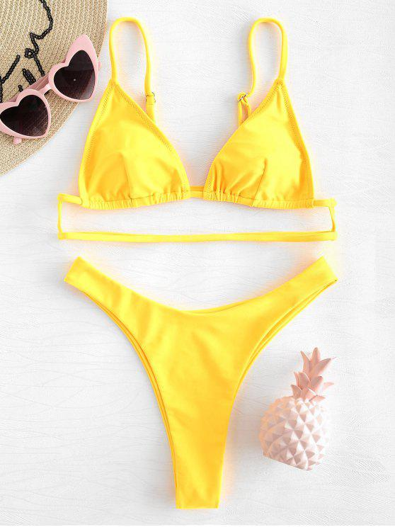 fashion Cami Straps Thong Bikini - RUBBER DUCKY YELLOW S