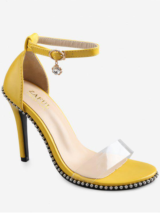 Crystal High Heel Transparent Strap Ankle Strap Sandals - Yellow 38