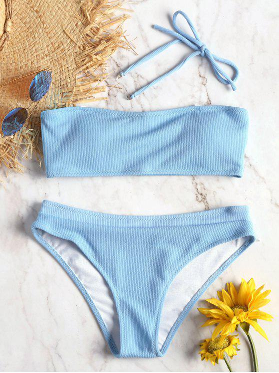 outfits Halter Ribbed Texture Bikini Set - DAY SKY BLUE S