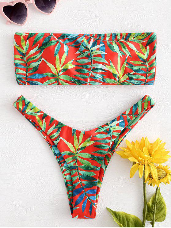shop Leaf Print Lace-up Bandeau Bikini Set - MULTI L