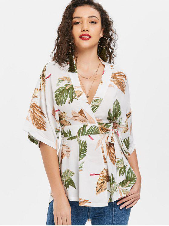 women Palm Leaf Mini Kimono Wrap Blouse - WHITE S