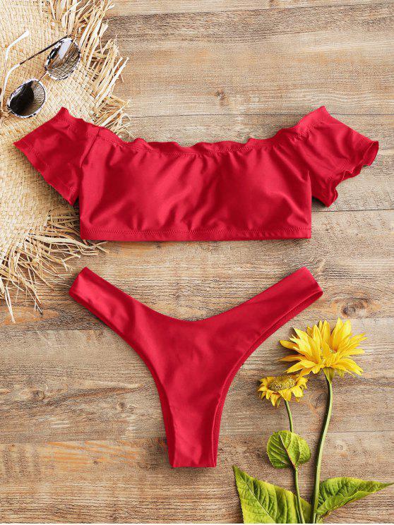 trendy Lettuce Trim Off Shoulder Thong Bikini Set - RED M