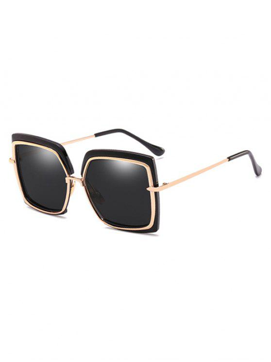 Anti UV Metal Frame Quadrado Oversized Óculos De Sol - Preto