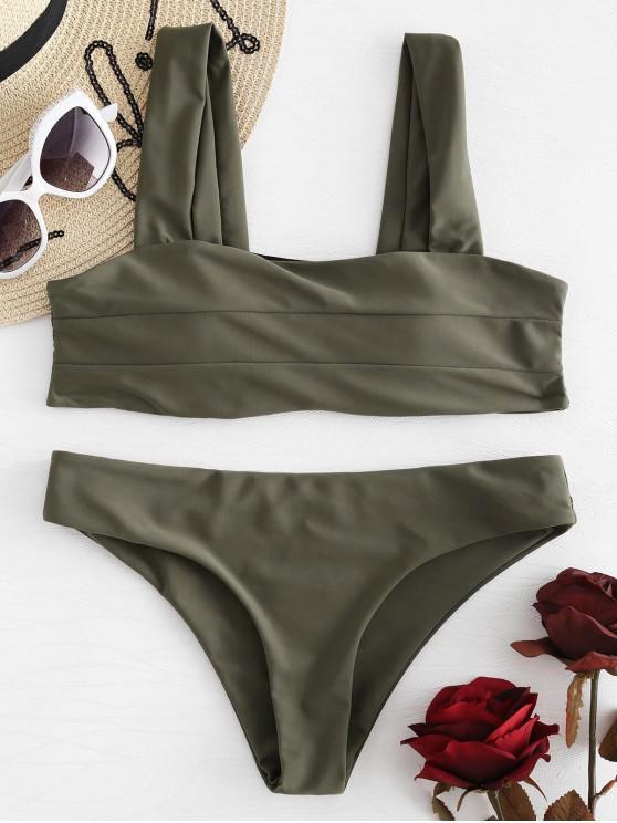 best Padded Wide Straps Bandeau Bikini Set - CAMOUFLAGE GREEN M