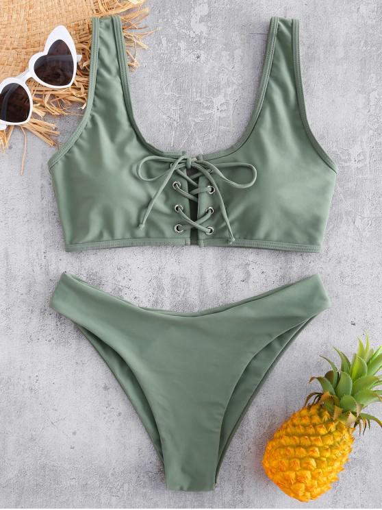 shop Lace Up Padded Bikini Set - CAMOUFLAGE GREEN S