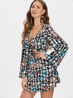 Vestido Estampado Con Pliegues Delanteros Con Lazo - Multicolor S