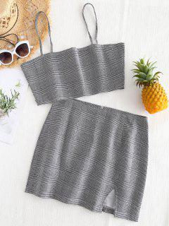 Bralette Plaid Top And Slit Mini Skirt Set - Checked S