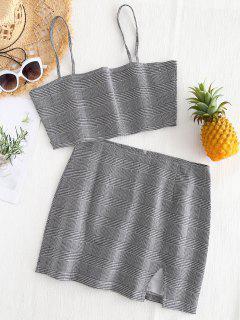 Bralette Plaid Top And Slit Mini Skirt Set - Checked L