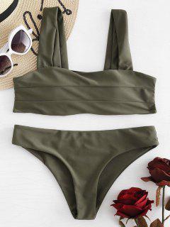 GepolsterterBreiter Riemen Bandeau Bikini Set - Tarnanstrich Grün S