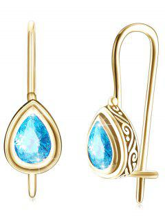 Vintage Water Drop Zircon Inlay Drop Earrings - Blue Zircon