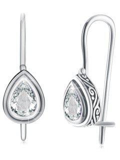 Vintage Water Drop Zircon Inlay Drop Earrings - Cool White