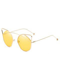 Anti UV Hollow Out Frame Catty Sunglasses - Goldenrod