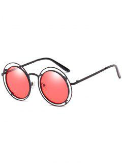 Statement Hollow Out Frame Round Sunglasses - Fire Engine Red