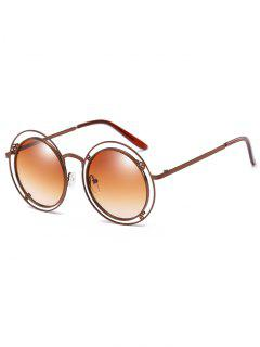 Statement Hollow Out Frame Round Sunglasses - Camel Brown