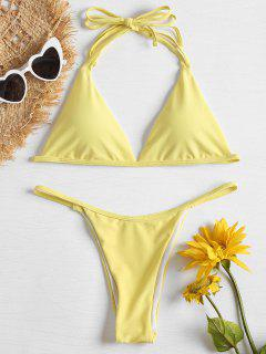 Halter String Niedrige Taille Bikini - Gelb S