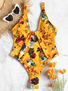 High Leg Front Tie Floral Swimwear - Bee Yellow L