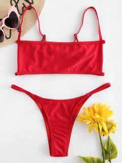 Bralette Cutout Thong Bikini Set - Red S