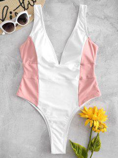 Color Block Plunge Swimsuit - Multi S