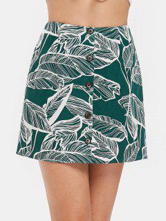 Button Front Leaves Print Skirt - Medium Sea Green L