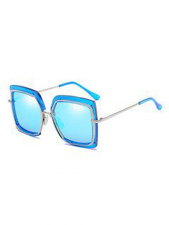 Anti UV Metal Frame Square Oversized Sunglasses - Light Sky Blue