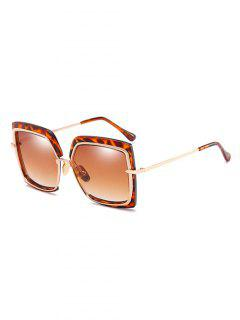 Anti UV Metal Frame Square Oversized Sunglasses - Camel Brown