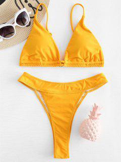 Hoch Geschnittenes Bikini Set - Dunkel Gelb M