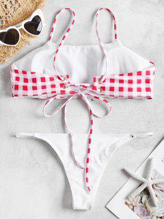 Conjunto De Bikini A Cuadros Acolchado - Rosa Roja M