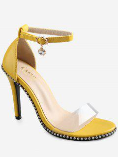 Crystal High Heel Transparent Strap Ankle Strap Sandals - Yellow 36