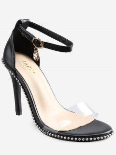 Crystal High Heel Transparent Strap Ankle Strap Sandals - Black 40