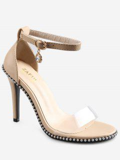 Crystal High Heel Transparent Strap Ankle Strap Sandals - Apricot 36